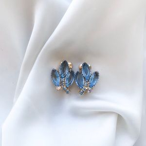 Vintage Baby Blue Leaf Clip Earrings